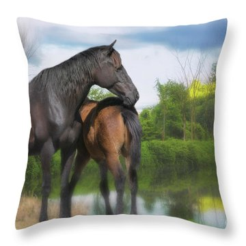The Wild Horses Of La Chura Trail Throw Pillow