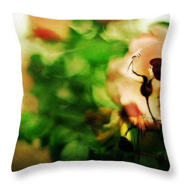 The Wind Around Her Shoulders Throw Pillow by Rebecca Sherman