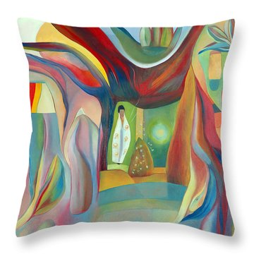 Throw Pillow featuring the painting The Wind Whistled Through The Cherry Tree by Linda Cull