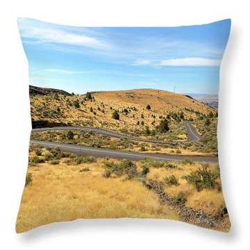 The Winding Road In Central Oregon Throw Pillow