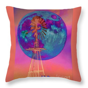 The Windmill And Moon In A Sherbet Sky Throw Pillow
