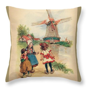 The Windmill And The Little Wooden Shoes Throw Pillow