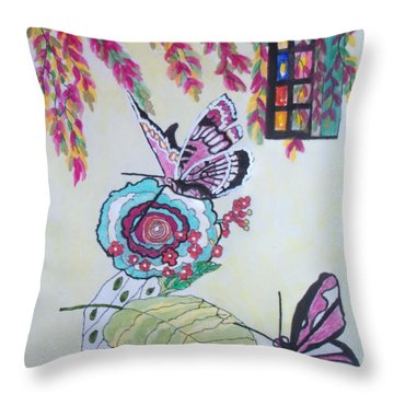 Throw Pillow featuring the painting The Window To The Butterfly World by Connie Valasco