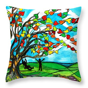 The Windy Tree Throw Pillow by Genevieve Esson