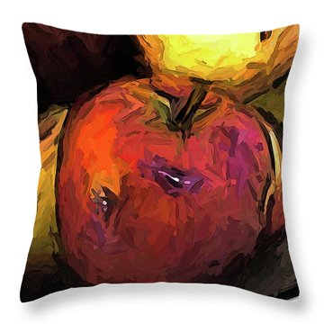 The Wine Apple With The Gold Apples Throw Pillow