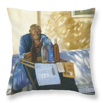 Throw Pillow featuring the painting The Wineseller by Marlene Book