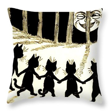 The Wink Six Black Pussy Cats Throw Pillow