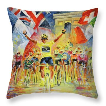 The Winner Of The Tour De France Throw Pillow