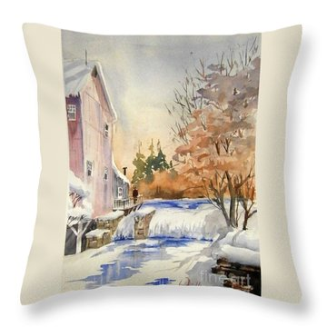 The Winter Mill Throw Pillow