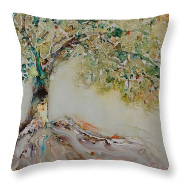 Throw Pillow featuring the painting The Wisdom Tree by Joanne Smoley