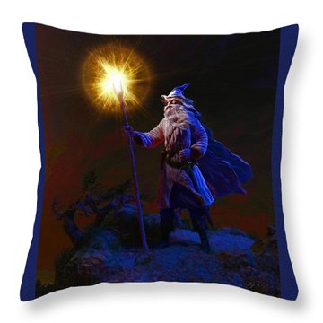 The Wise Old Wizard Throw Pillow by Dave Luebbert