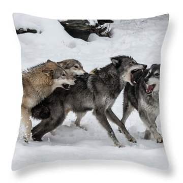 The Wolf Pack Throw Pillow