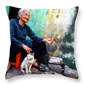The Woman And The Cat Throw Pillow