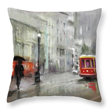 The Woman In The Rain Throw Pillow