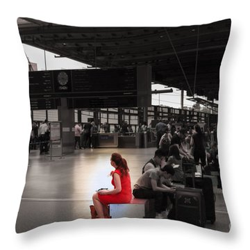 The Woman In The Red Dress  Throw Pillow