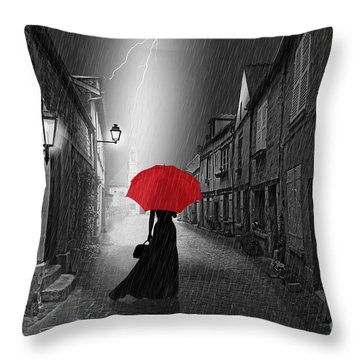 The Woman With The Red Umbrella Throw Pillow by Monika Juengling