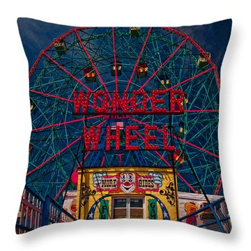 The Wonder Wheel At Luna Park Throw Pillow