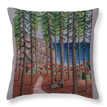 Throw Pillow featuring the painting The Wood Collectors by Hilda and Jose Garrancho