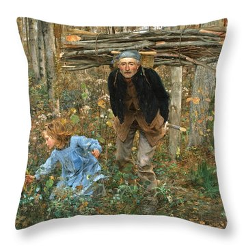 The Wood Gatherer Throw Pillow