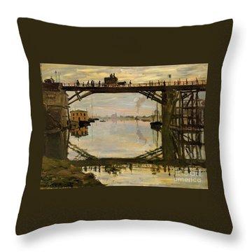 The Wooden Bridge Throw Pillow by Monet