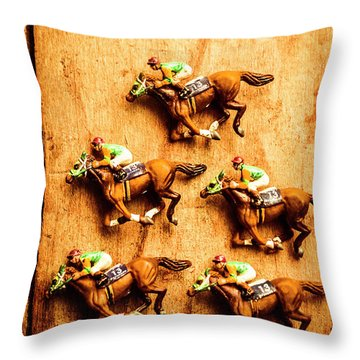 The Wooden Horse Race Throw Pillow