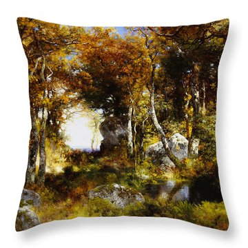 The Woodland Pool Throw Pillow by Thomas Moran