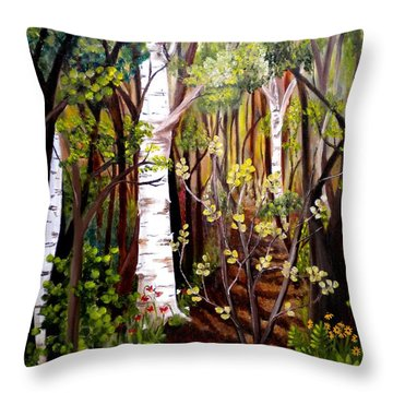 The Woodland Trail Throw Pillow by Renate Nadi Wesley