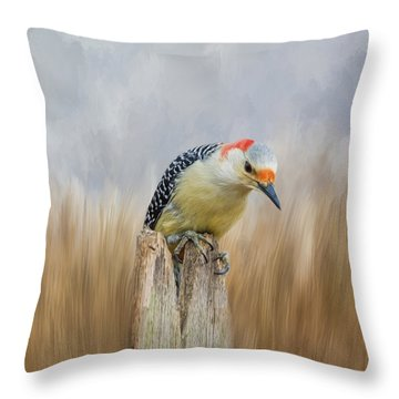 The Woodpecker Throw Pillow