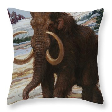 The Woolly Mammoth Is A Close Relative Throw Pillow by Charles R. Knight