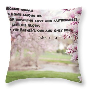 Throw Pillow featuring the photograph The Word Became Human by Allen Beilschmidt