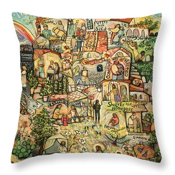 The Works Of Mercy Throw Pillow