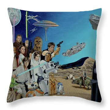 The World Of Star Wars Throw Pillow by Tony Banos