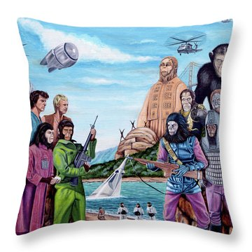 The World Of The Planet Of The Apes Throw Pillow by Tony Banos
