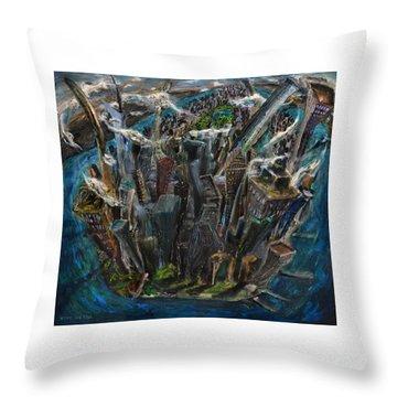 The Worlds Capital Throw Pillow by Antonio Ortiz