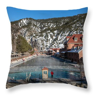 The World's Largest Hot-springs Pool At The Spa Of The Rockies In Glenwood Springs Throw Pillow