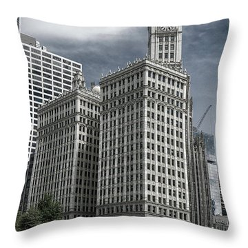 Throw Pillow featuring the photograph The Wrigley Building by Alan Toepfer