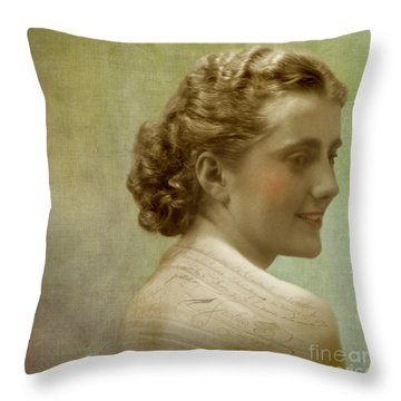 The Writer Throw Pillow by Martine Roch