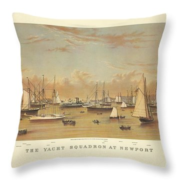 The Yacht Squadron At Newport Throw Pillow