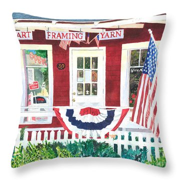 Throw Pillow featuring the painting The Yarn Shop by LeAnne Sowa