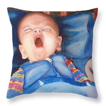 The Yawn Throw Pillow by Marilyn Jacobson