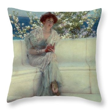 The Year's At The Spring -  All's Right With The World Throw Pillow by Sir Lawrence Alma-Tadema