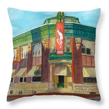 The Yellow Brick Bank Restaurant Throw Pillow by Lynne Reichhart