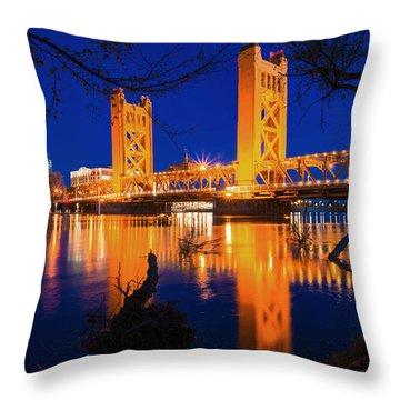 The Yellow Bridge  Throw Pillow