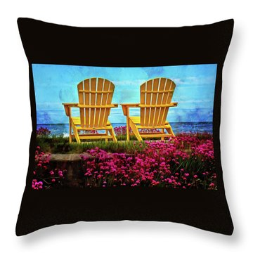 The Yellow Chairs By The Sea Throw Pillow