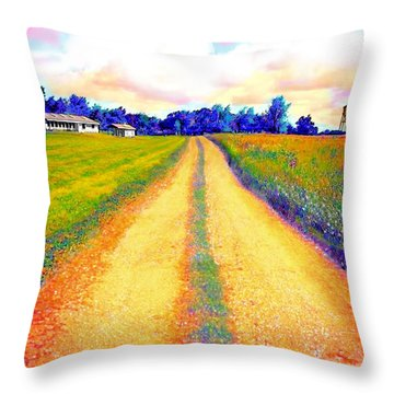 The Yellow Dirt Road Throw Pillow by Jann Paxton