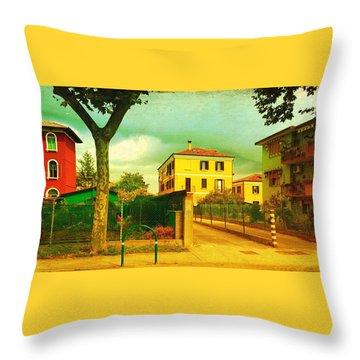 Throw Pillow featuring the photograph The Yellow House by Anne Kotan