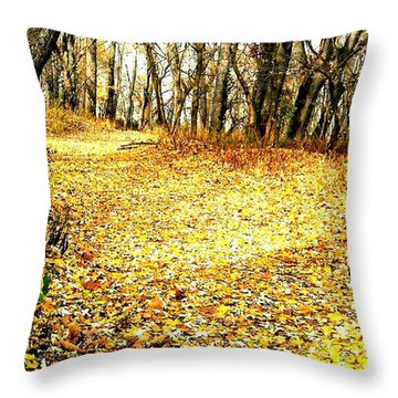 The Yellow Leaf Road Throw Pillow