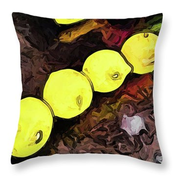 The Yellow Lemons In A Row And The Pink Apple Throw Pillow