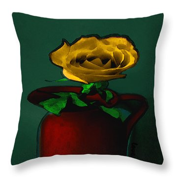 The Yellow Rose Painting Throw Pillow