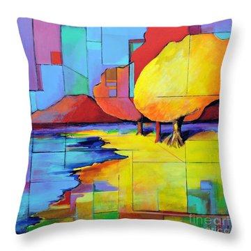 The Yellow Tree Throw Pillow by Jodie Marie Anne Richardson Traugott          aka jm-ART